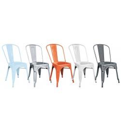Set 4 sedie per interni ed esterni stile industriale in lamiera impilabili